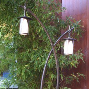 Außen Stehlaterne japanische Anmutung Bambus Optik