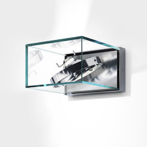 Design Wandlampe außen Glas Edelstahl