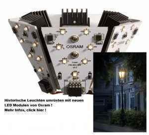 Historische Außenleuchten einfach umrüsten auf LED Beleuchtung