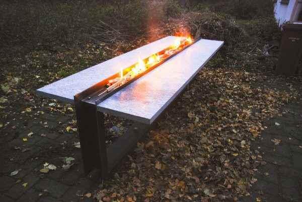 Außen Feuertisch Esstisch Garten mit Feuer