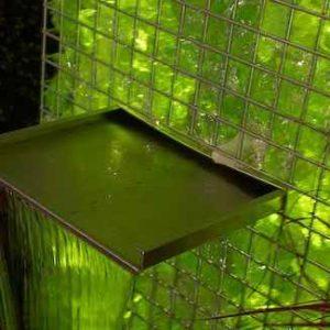 beleuchtete Gabionen Wasserwand