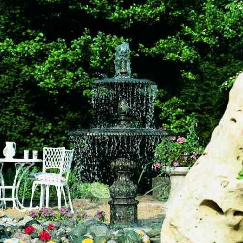 gartenspringbrunnen f r au en 2 schalen metall guss stabil w. Black Bedroom Furniture Sets. Home Design Ideas