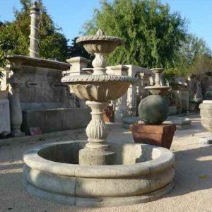 Garten Außen Springbrunnen Naturstein mit 2 Etagen Schalen und Wasserbecken