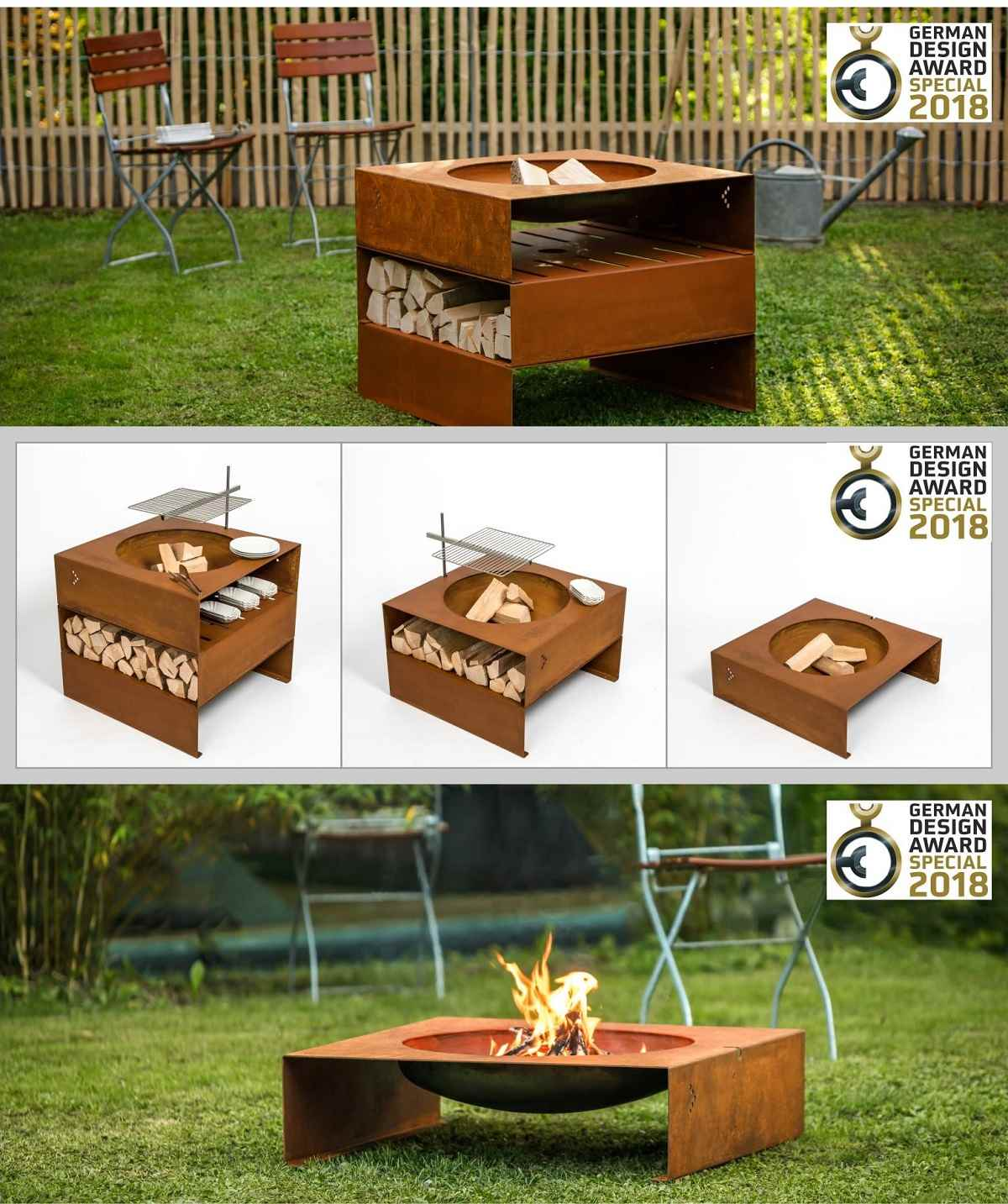 feuerstelle mit mit grill xcm design garten feuerstelle mit dem german design award. Black Bedroom Furniture Sets. Home Design Ideas
