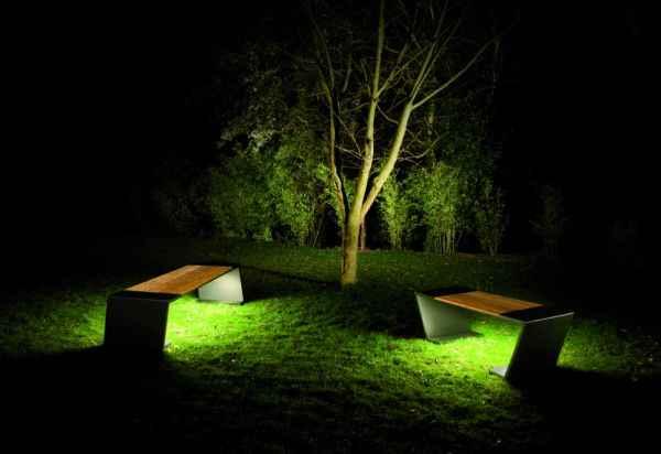 Gartenbank mit integrierter beleuchtung stahl holz - Terrassenbeleuchtung wand ...