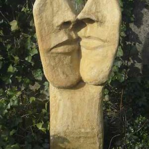 Gartenkunst  2 Gesichter Beton Skulpture