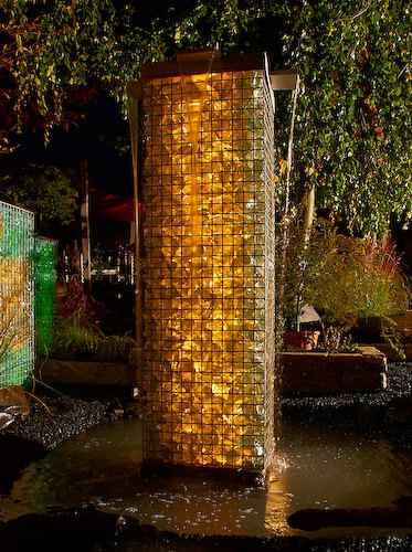 beleuchteter gabionen wasserfall für den außenbereich, Hause und Garten