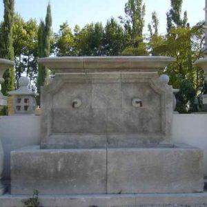 Großer stehender Wandbrunnen Garten Antik Naturstein