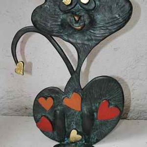 Katzenskulpturen aus Kupfer für Außen
