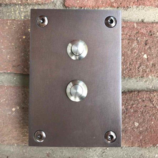 Klingelplatte aus Bronze 2 Fach