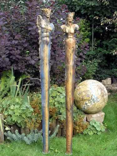 Königspaar Kunst Skulptur Garten König Königin Kunstliebhaber