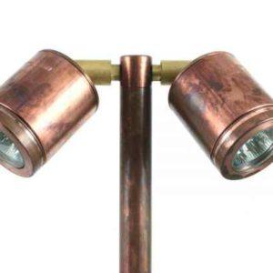Kupfer gartenleuchten mit 2 Strahler