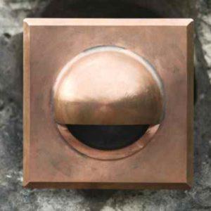Kupfer Wandeinbauleuchte außen quadratisch blendfrei