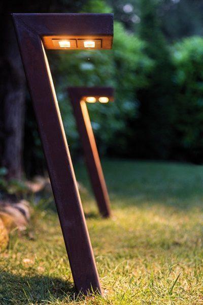 Maße der LED Cortenstahl Gartenleuchte