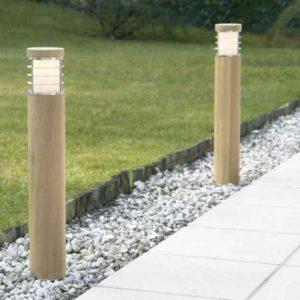 Moderne Weg Pollerleuchten aus Holz ohne Lamelle