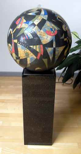 kugelbrunnen rund blau keramik kunst garten wasserbrunnen. Black Bedroom Furniture Sets. Home Design Ideas