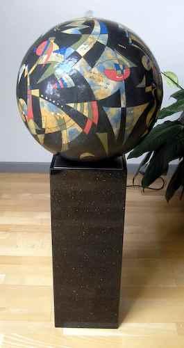 kugelbrunnen rund blau keramik kunst garten wasserbrunnen kugel. Black Bedroom Furniture Sets. Home Design Ideas