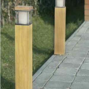 Quadratische Holz Pollerleuchten