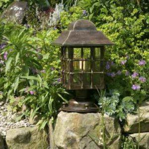 Sockellampe Garten braun Landhaus