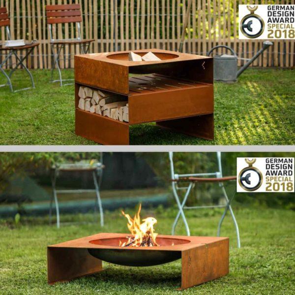 Garten Feuerstelle aus Stahl mit 3 Modulen