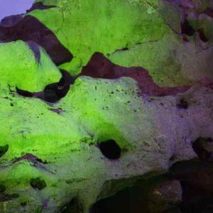 Stein Skulptur farbig beleuchten