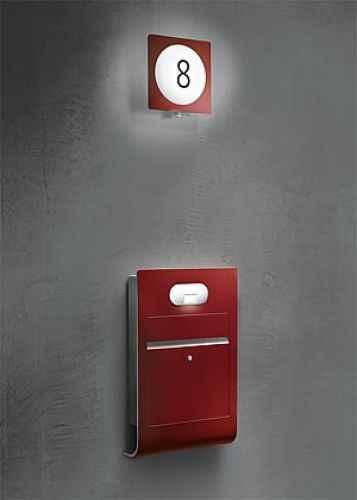 moderner select design briefkasten rot wei ral siedle ein. Black Bedroom Furniture Sets. Home Design Ideas