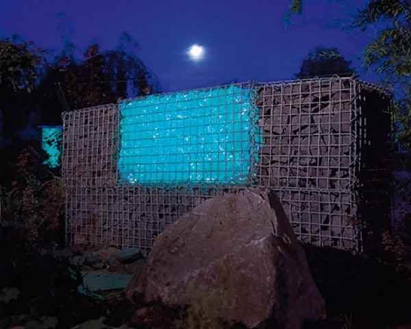 Extrem Zaungabionen beleuchtet als Zaun und Lichtelement UG12