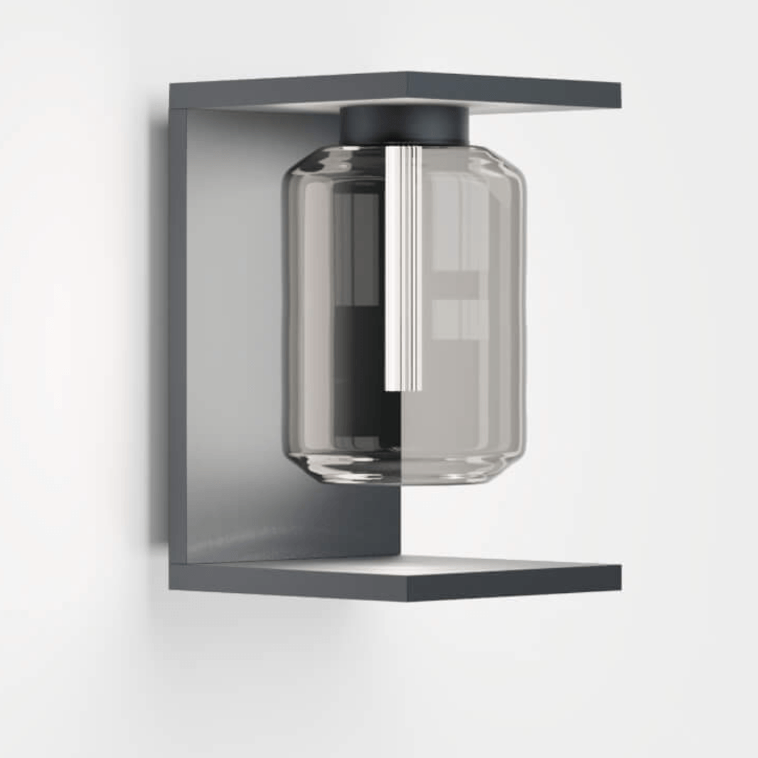 moderne anthrazit wandlampe au en mit glas als stilvoller blickfang. Black Bedroom Furniture Sets. Home Design Ideas