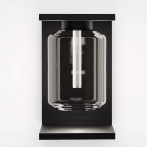 Moderne tief schwarze Wandlampe außen mit Glas