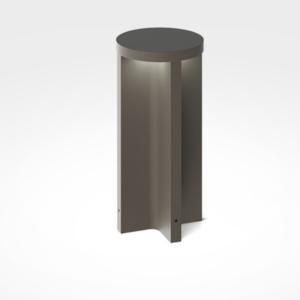 kleine runde moderne Pollerleuchte 30cm braun