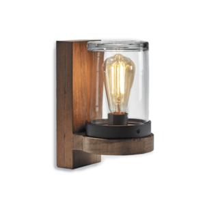 moderne Holz Wandleuchte mit Klarglas außen