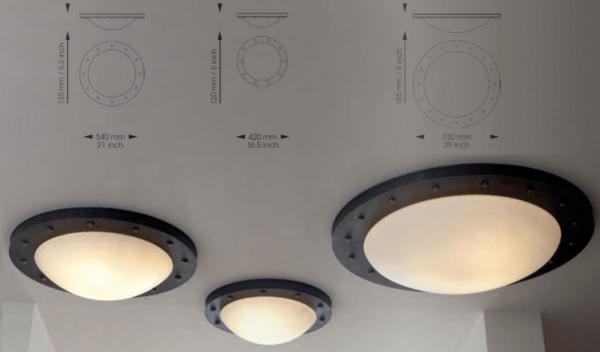 Rustikale runde Deckenleuchte außen in 3 Größen