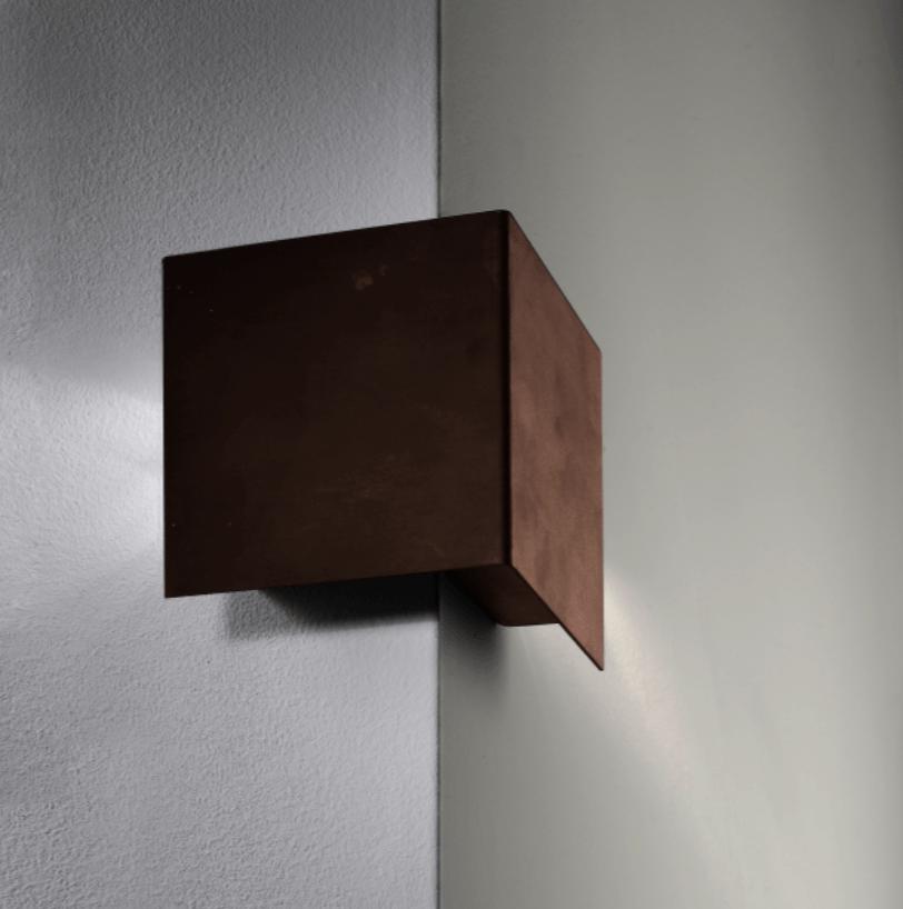 eckleuchte wandleuchte au en led aus cortenstahl. Black Bedroom Furniture Sets. Home Design Ideas