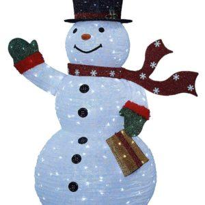 Großer leucht Schneemann außen