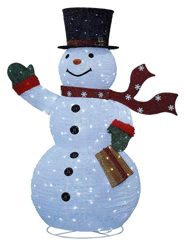 Großer leucht Schneemann außen als Gartendekoration