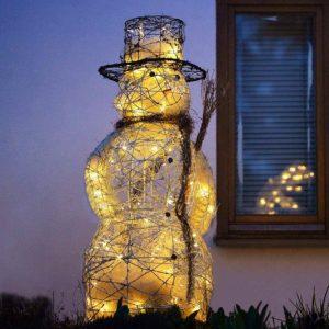 Großer leuchtender Schneemann für außen