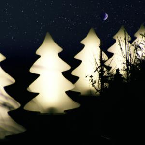 Leuchtende Weihnachtsbäume außen