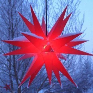 Roter LED Weihnachtsstern außen hängend