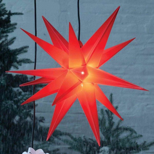 Roter leuchtender Adventsstern für außen