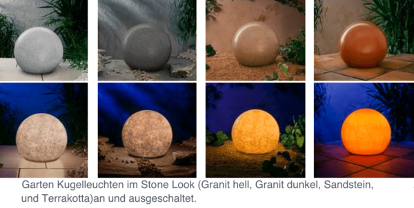 Garten Kugelleuchten im Stone Look (Granit hell, Granit dunkel, Sandstein, und Terrakotta)