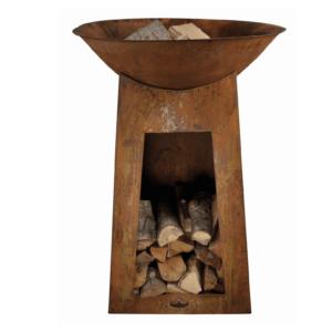 Stehende Feuerschale mit Holzfach