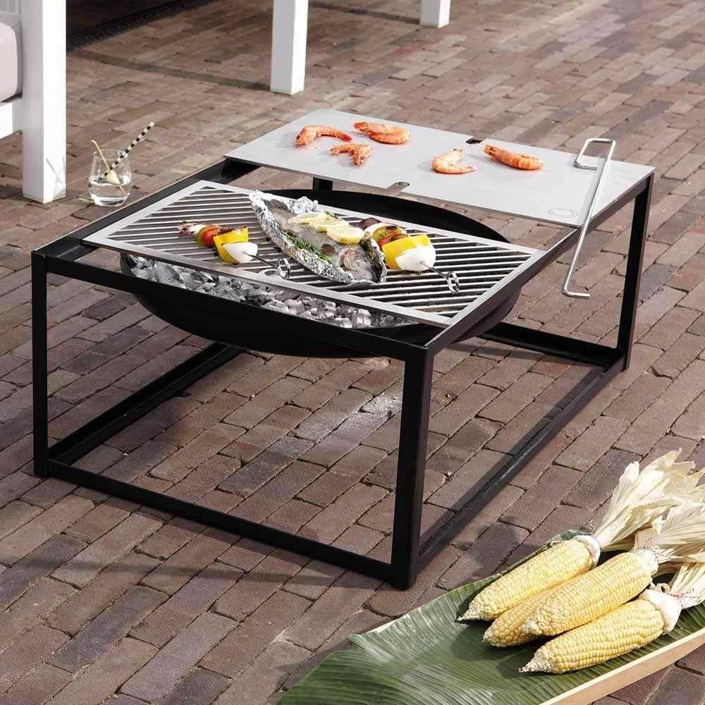 tisch feuerschale mit grill ist feuer und flamme. Black Bedroom Furniture Sets. Home Design Ideas