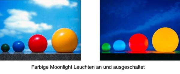 farbige Moonlight Leuchten an und ausgeschaltet
