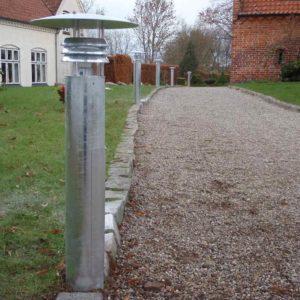 Dänische Poller Wegleuchte aus verzinktem Stahl