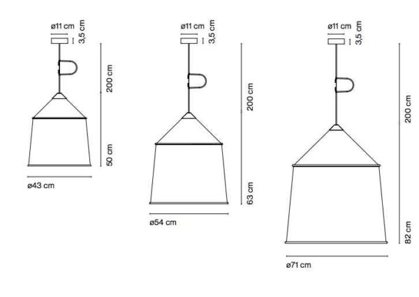 Große Stoffschirm Deckenleuchten in 3 verschiedenen Größen