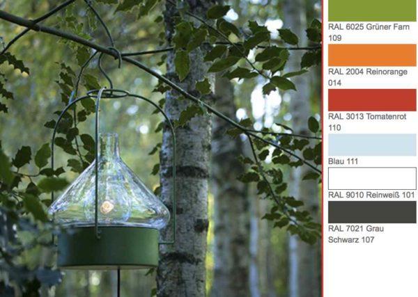 Mobile Decken Hängeleuchte für Gartensitzecke in verschiedenen Farben lieferbar
