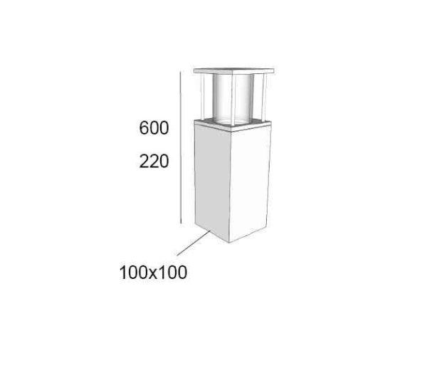 Außenlampe quadratisch für Mauerbegrenzung-Abmessungen