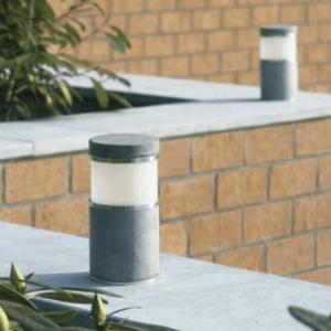 Außenlampe rund für Mauerbegrenzung blaustein