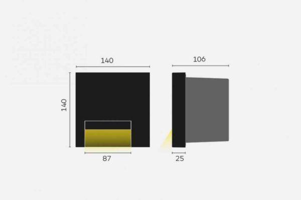 Design Wandeinbau Orientierungslicht außen weiß quadratisch Abmessungen