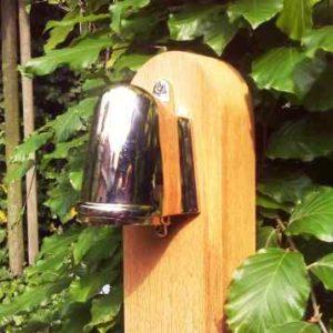 Holz Pollerleuchte Chromstrahler nach unten